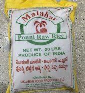 Malabar Ponni Raw Rice 20lbs